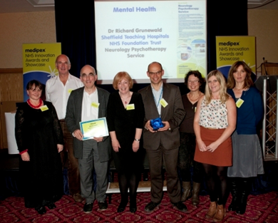 The psychotherapy team receiving the Medipex Award (runner up in the mental health category 2012)